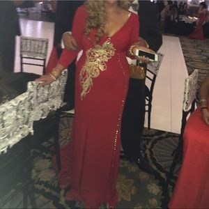 Dresses & Skirts - Red beaded gown